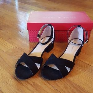 Kelly & Katie Black Velvety Dress Sandals